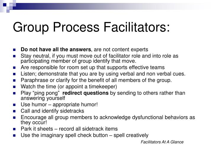 Group Process Facilitators:
