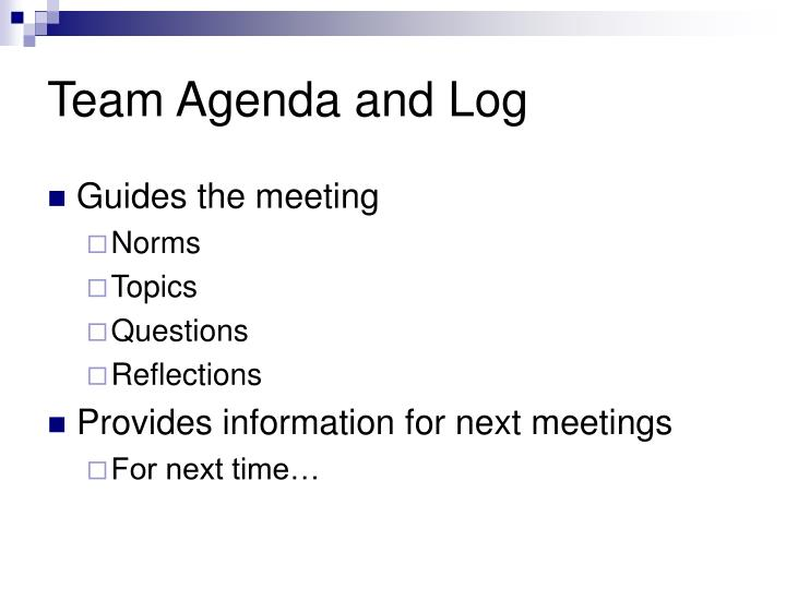 Team Agenda and Log