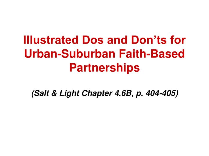 Illustrated Dos and Don'ts for Urban-Suburban Faith-Based Partnerships