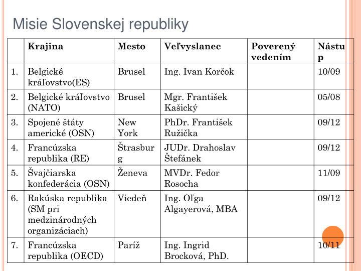 Misie Slovenskej republiky
