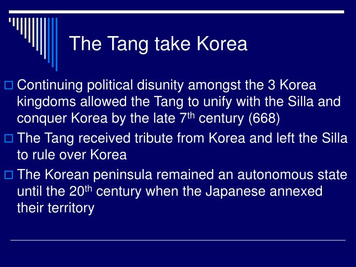 The Tang take Korea