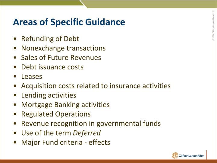 Areas of Specific Guidance