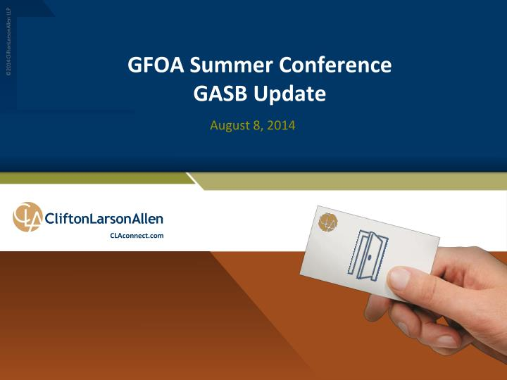 Gfoa summer conference gasb update