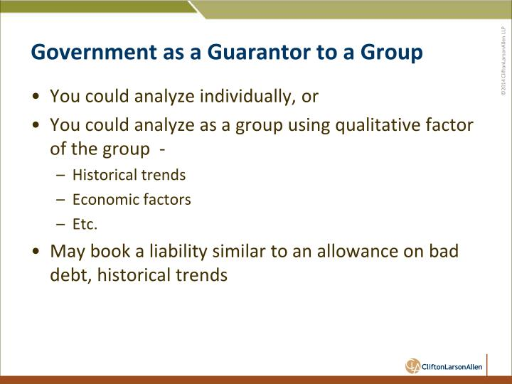 Government as a Guarantor to a Group