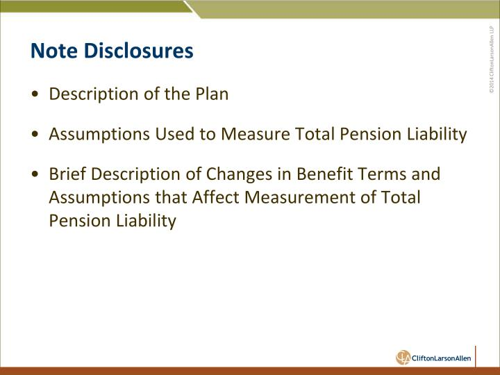 Note Disclosures