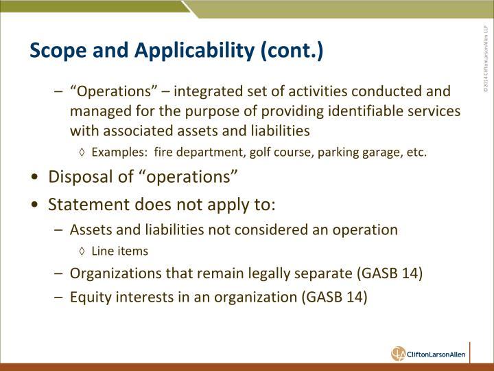 Scope and Applicability (cont.)