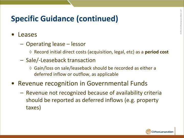 Specific Guidance (continued)