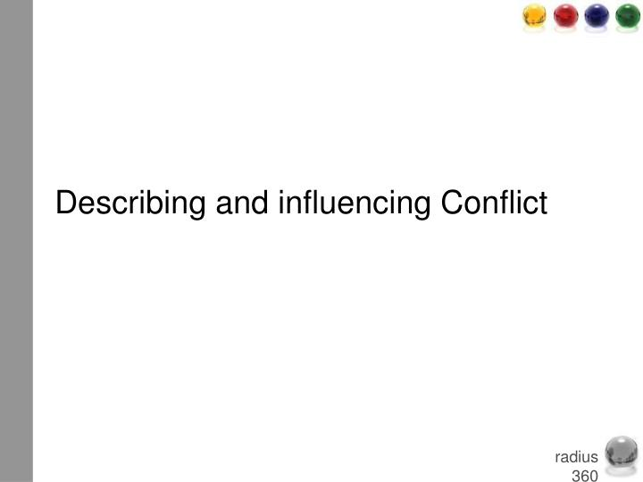 Describing and influencing Conflict