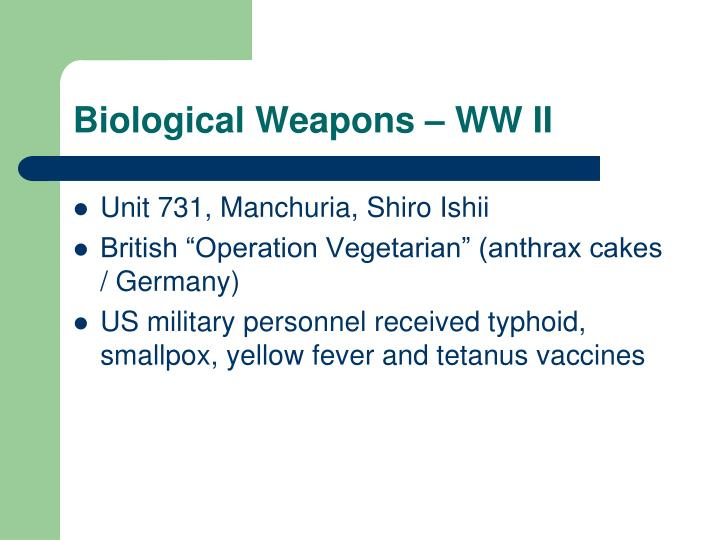 Biological Weapons – WW II