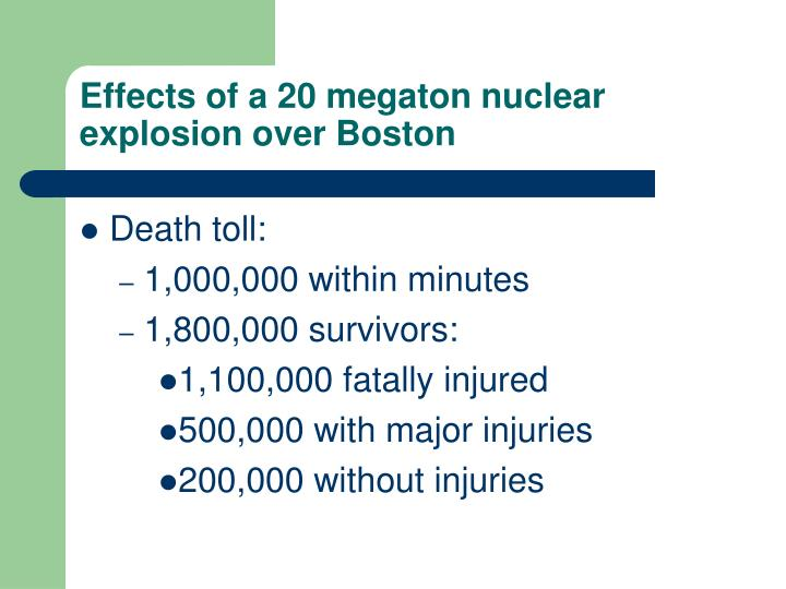 Effects of a 20 megaton nuclear explosion over Boston