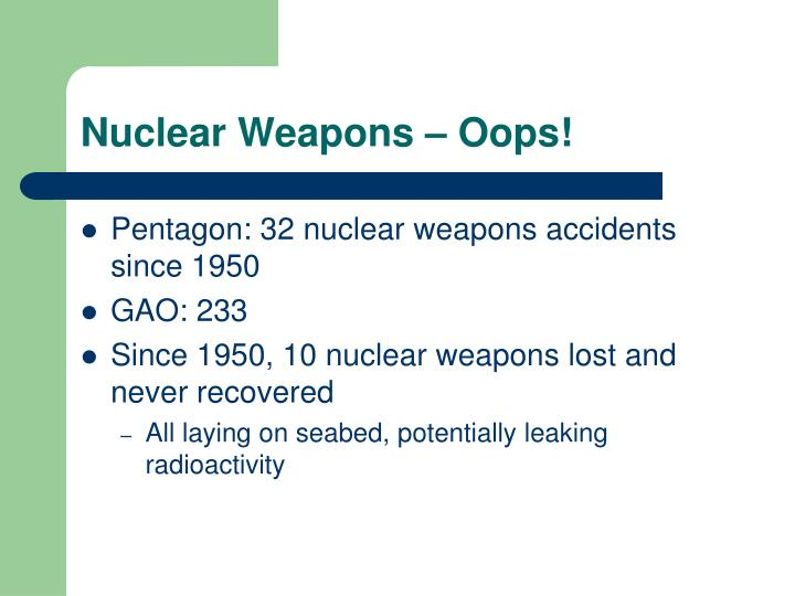 Nuclear Weapons – Oops!