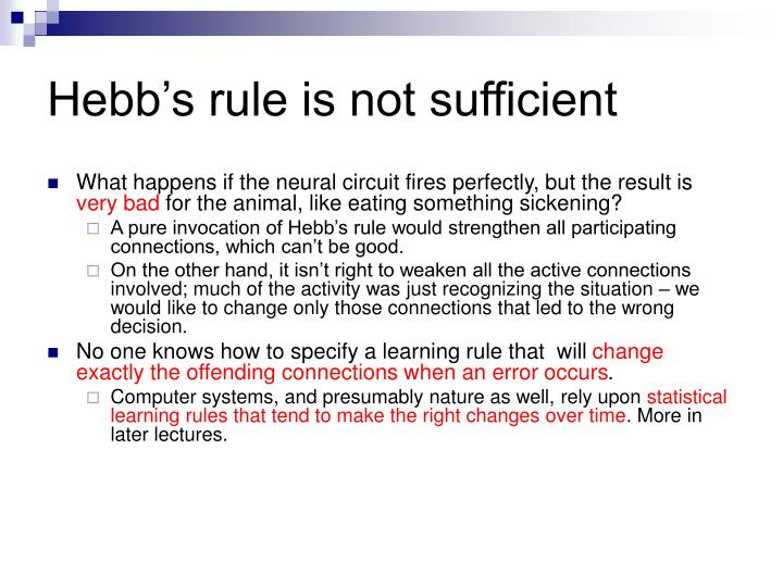 Hebb's rule is not sufficient