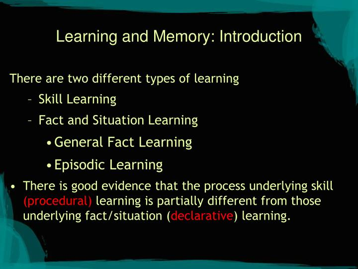 Learning and Memory: Introduction