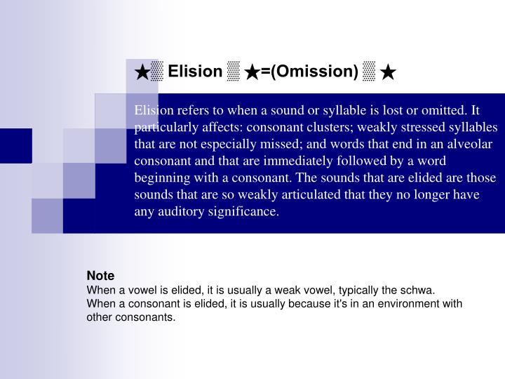 ★▒ Elision ▒ ★=(Omission) ▒ ★