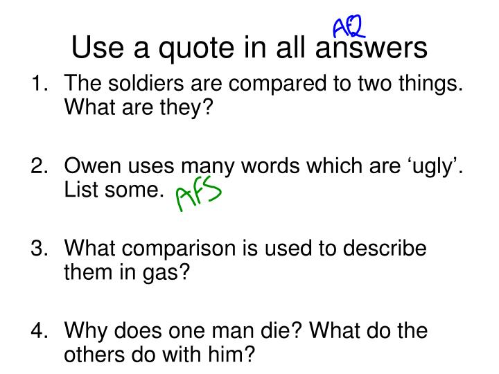 Use a quote in all answers