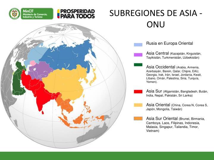 SUBREGIONES DE ASIA - ONU