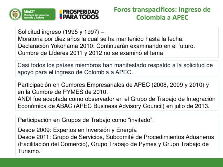 Foros transpacificos: Ingreso de Colombia a APEC