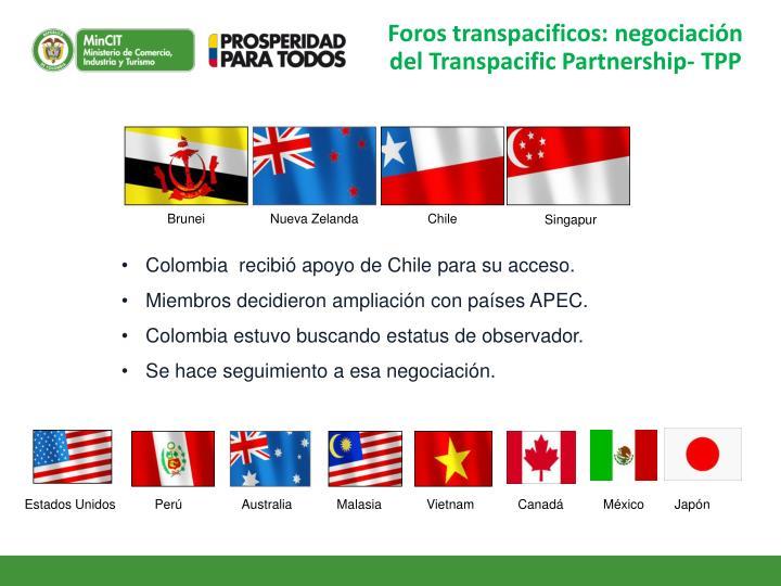 Foros transpacificos: negociación del Transpacific Partnership- TPP