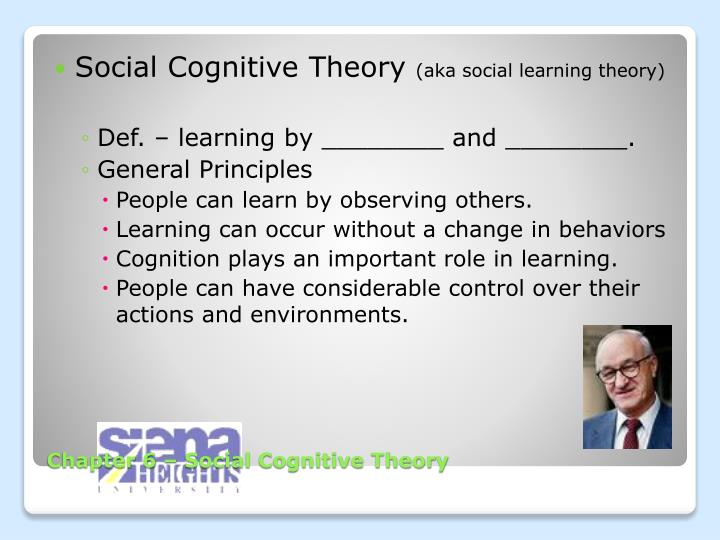 Chapter 6 social cognitive theory