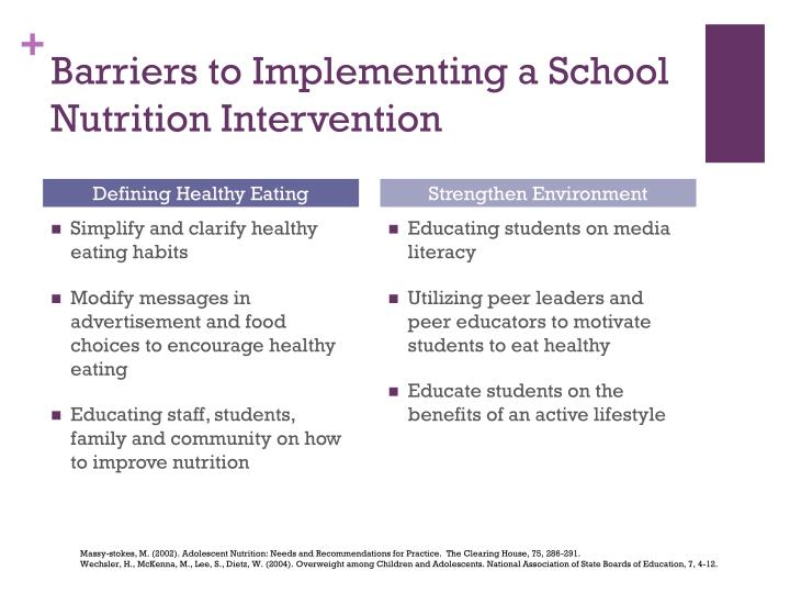 Barriers to Implementing a School Nutrition Intervention