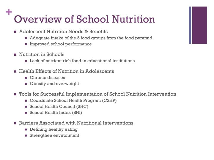 Overview of School Nutrition