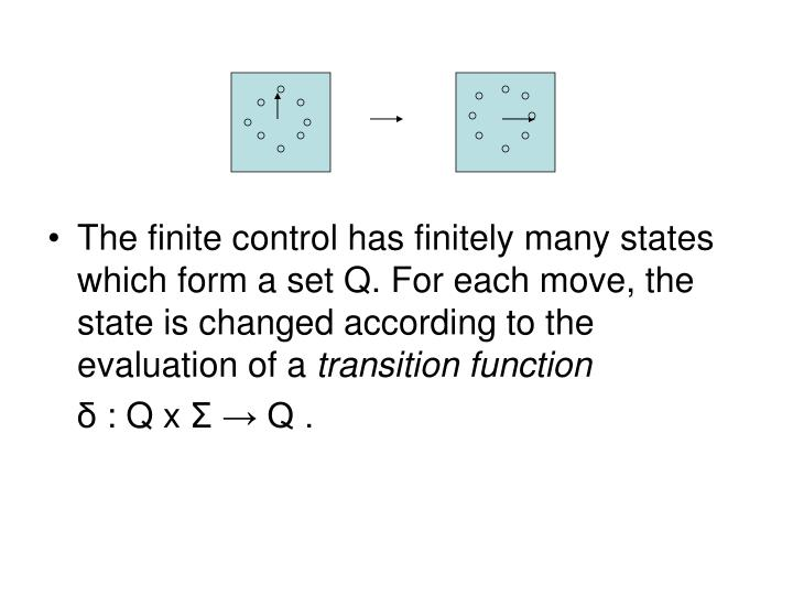 The finite control has finitely many states which form a set Q. For each move, the state is changed according to the evaluation of a