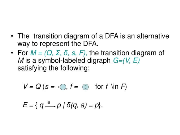 The  transition diagram of a DFA is an alternative way to represent the DFA.