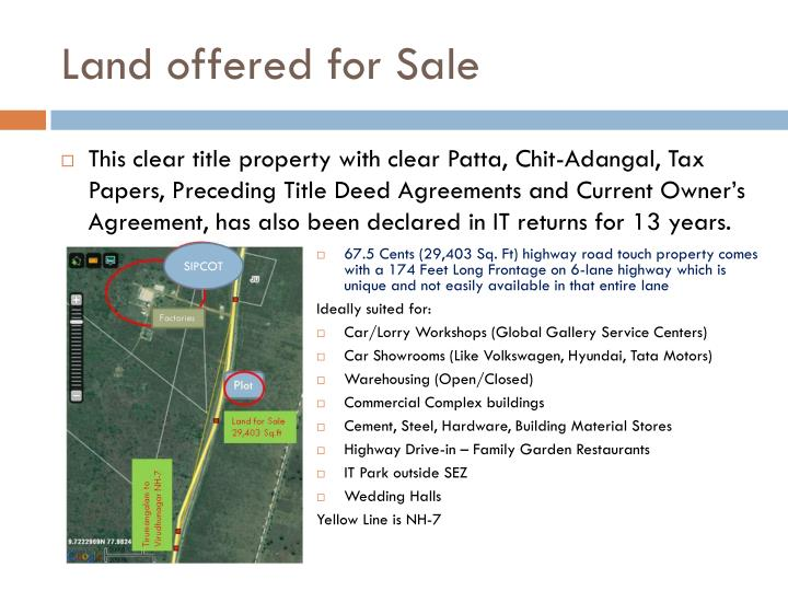 Land offered for Sale