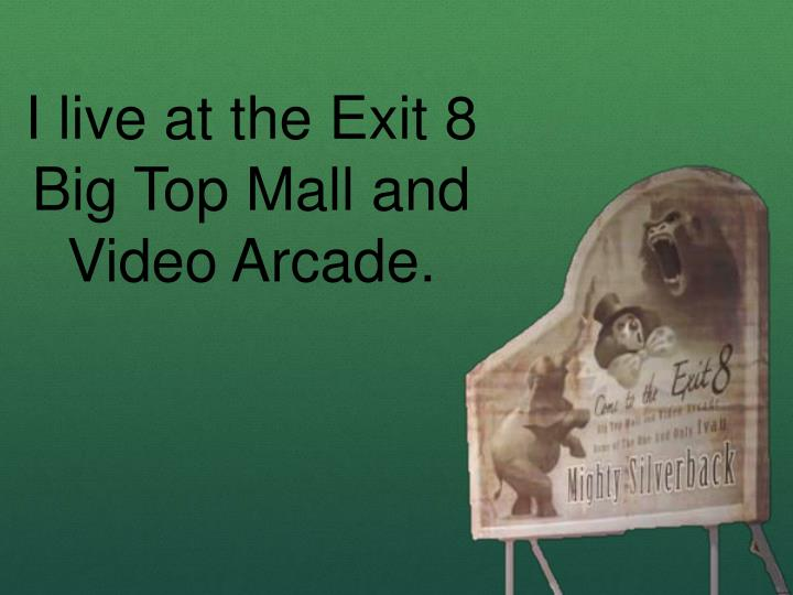 I live at the Exit 8 Big Top Mall and Video Arcade.