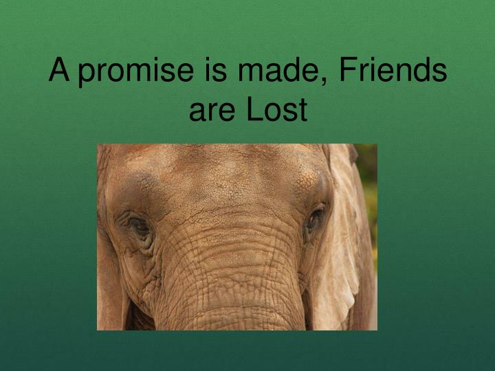A promise is made, Friends are Lost