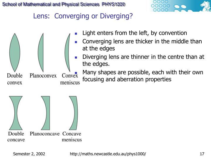 Lens:  Converging or Diverging