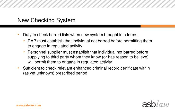 New Checking System