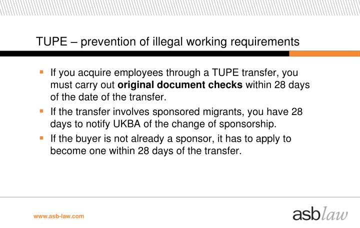 TUPE – prevention of illegal working requirements