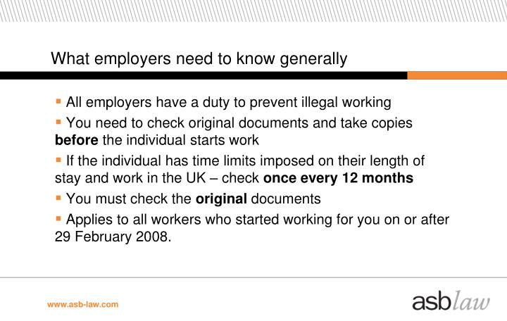 What employers need to know generally