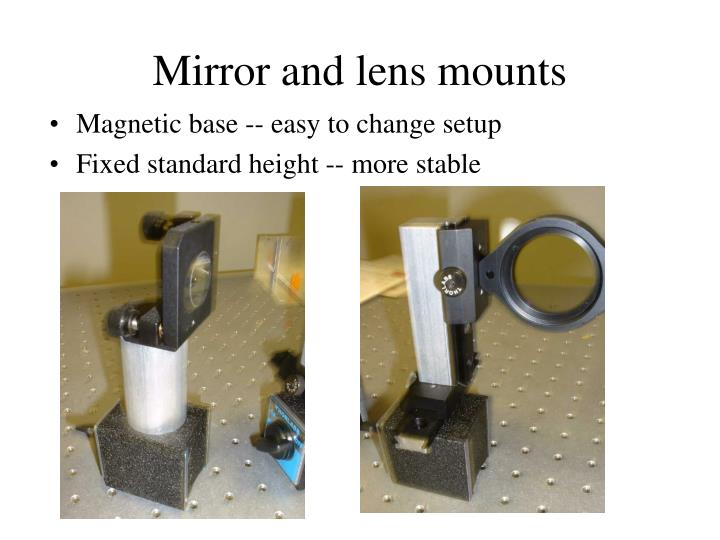 Mirror and lens mounts