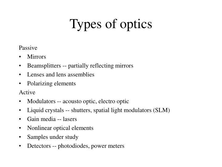 Types of optics