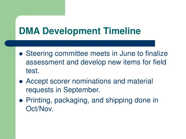DMA Development Timeline