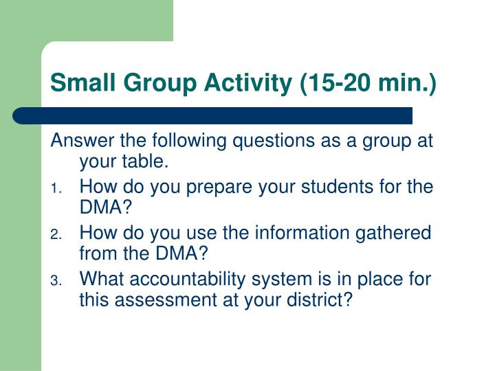 Small Group Activity (15-20 min.)