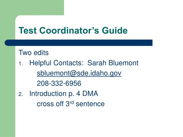 Test Coordinator's Guide