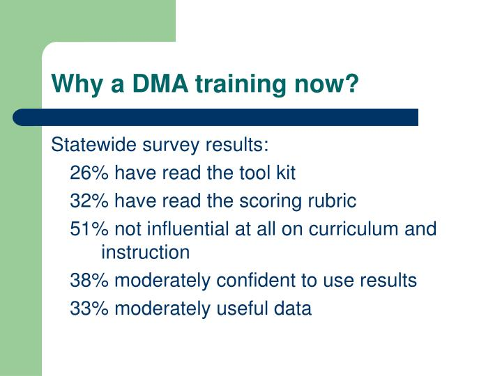 Why a DMA training now?