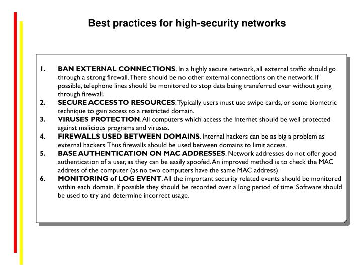 Best practices for high-security networks