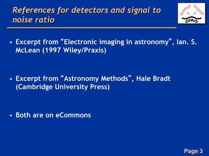 References for detectors and signal to noise ratio