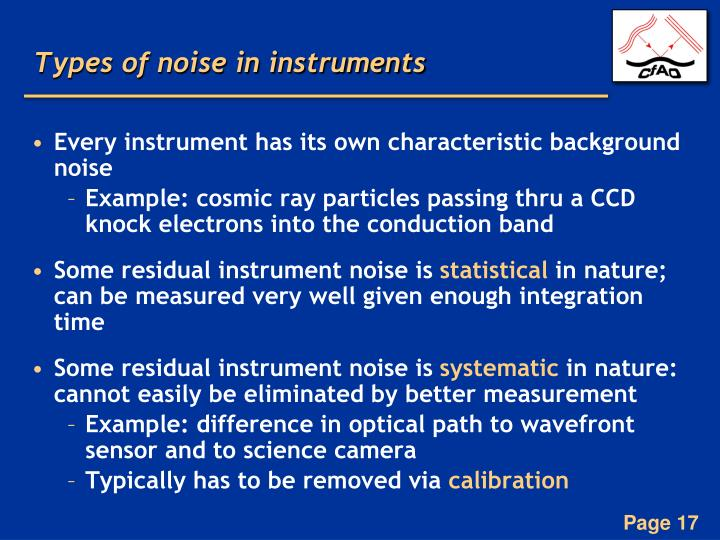 Types of noise in instruments