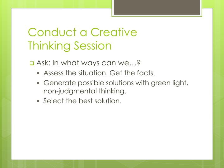 Conduct a Creative