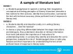 a sample of literature text