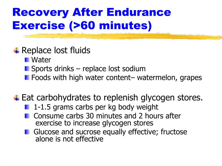 Recovery After Endurance Exercise (>60 minutes)