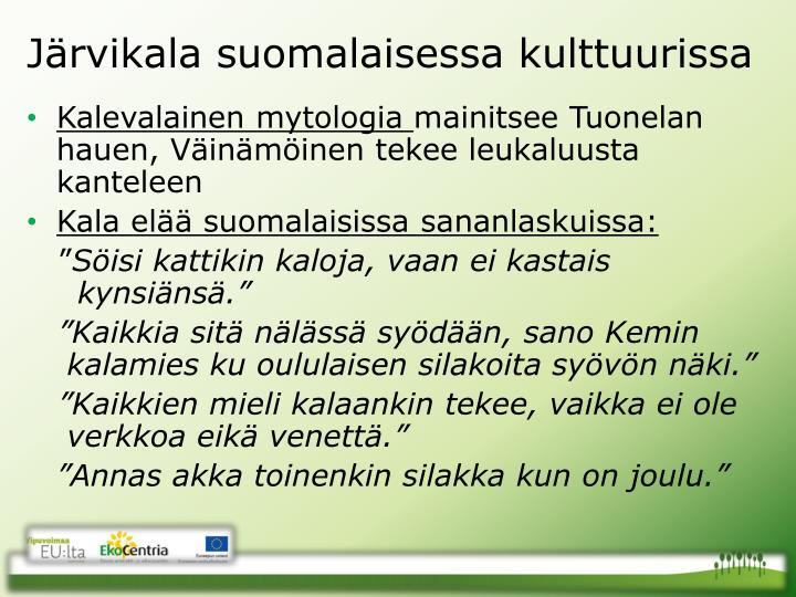 Järvikala suomalaisessa kulttuurissa