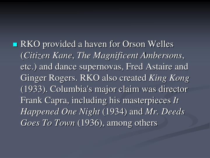 RKO provided a haven for Orson Welles (