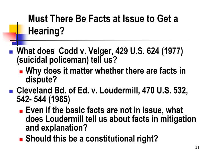 Must There Be Facts at Issue to Get a Hearing?