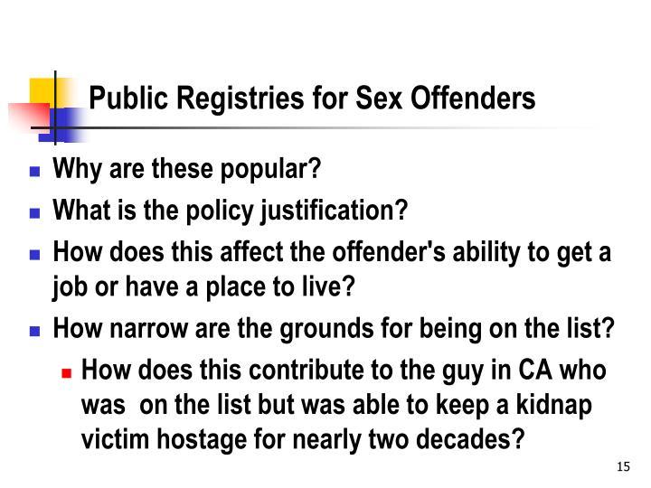 Public Registries for Sex Offenders